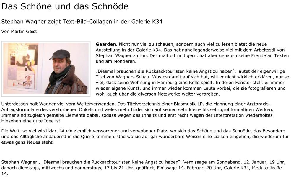 Das Schöne und das Schnöde - Stephan Wagner zeigt Text-Bild-Collagen in der Galerie K34