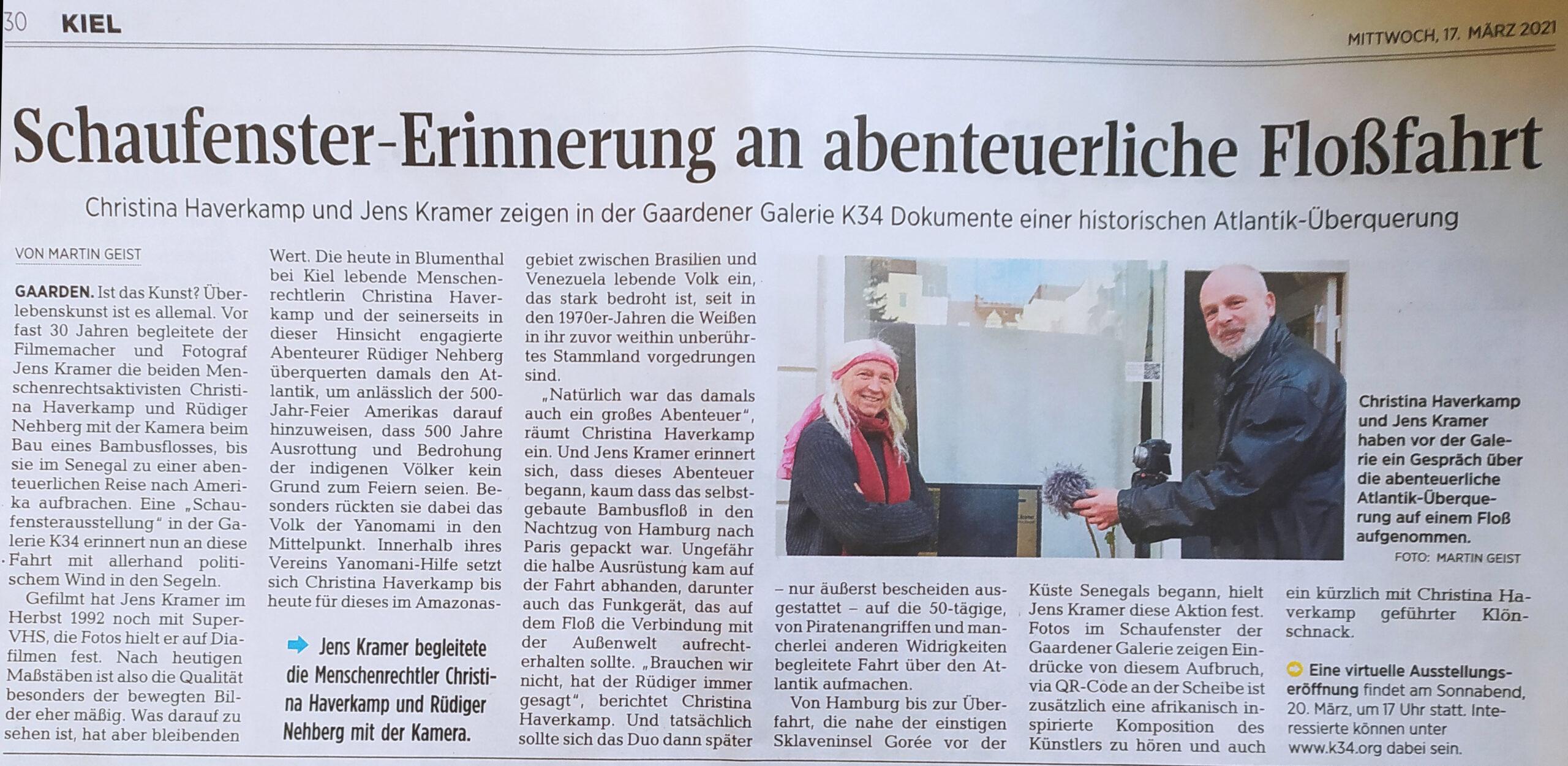 Ausstellung Jens Kramer KN Artikel